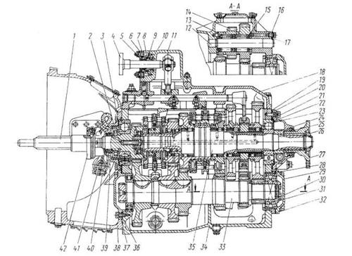 128. Коробка передач модели 14 автомобиля Камаз: 1 - вал ведущий; 2 - крышка заднего подшипника основного вала; 3, 23...